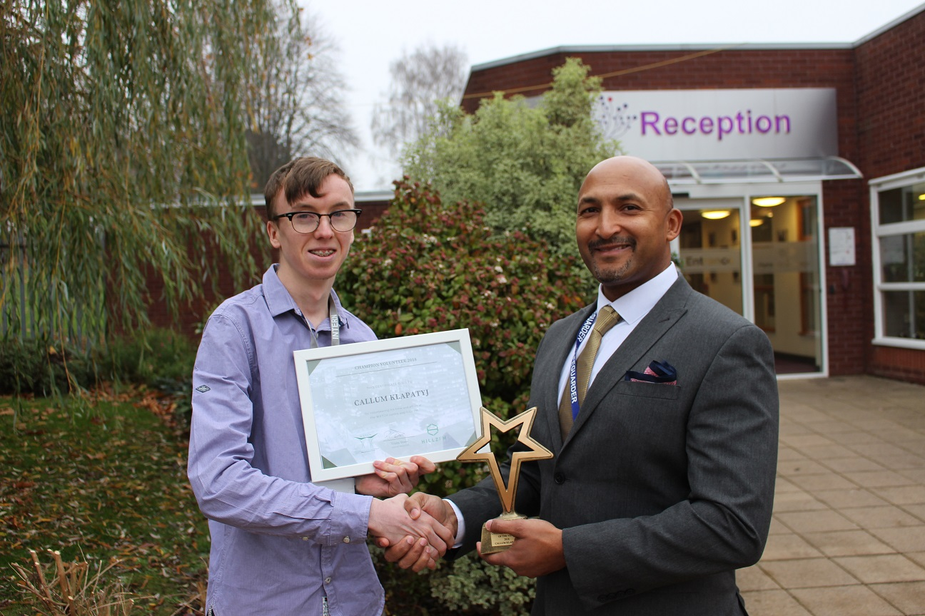 Callum receiving award